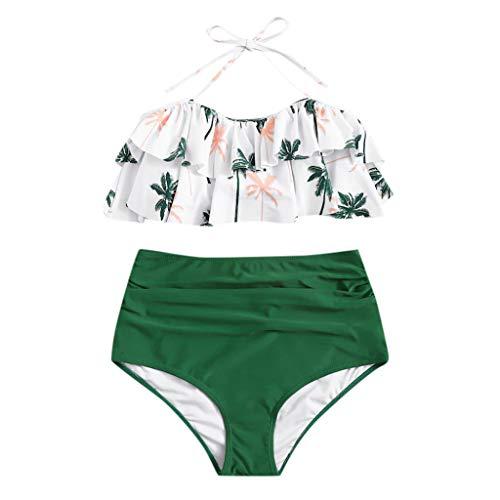 - Women Printing Bandage Bikini Set Brazilian Swimwear Beachwear Swimsuit Green