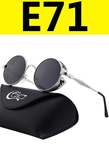 8870e180b3 CGID E71 Retro Steampunk Style Inspired Round Metal Circle Polarized  Sunglasses for Women Men