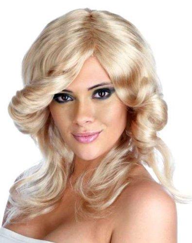 [70s Farrah Fawcett Style Flick Fancy Dress Wig Blonde - One Size by Parties Unwrapped] (Farrah Fawcett Wig)