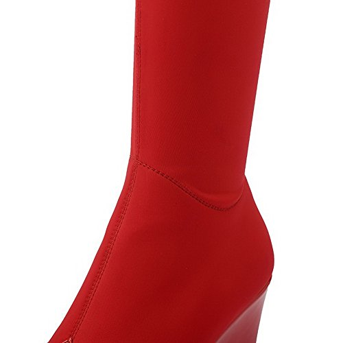 AmoonyFashion Womens Pointed-Toe Closed-Toe High-Heels Boots with Thread and Platform Red vjeRNbh