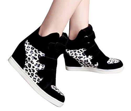 new style 54a11 3ef2a ... Padgene Baskets Mode Compensées Scratch Suede Nylon Sneakers Hautes  Chaussures de ville Leopard Femme noir léopard ...