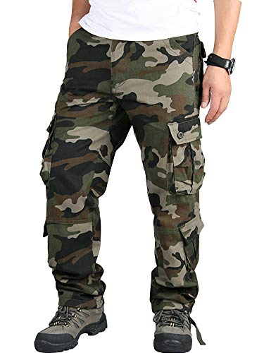 Mens Relaxed-Fit Cargo Pants Multi Pocket Military Camo Combat Work Pants Army Camo 40-US 38