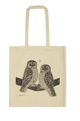 Two Hoots Owls Cotton Canvas Shopping Shopper Bag by Ulster Weavers