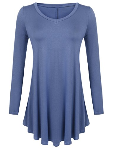 Steel Stretch Shirt (Sherosa Long Sleeve Loose Fit Long Tunic Tops Flowy Soft and Plus Size Jersey (XL, Steel Blue))