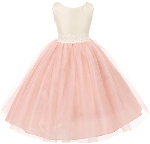 Big Girl Satin Bodice Elegant Lace Accented Waistline Flower Girl Dress Blush 10 GG 3566 (Sleeveless Bodice Satin)