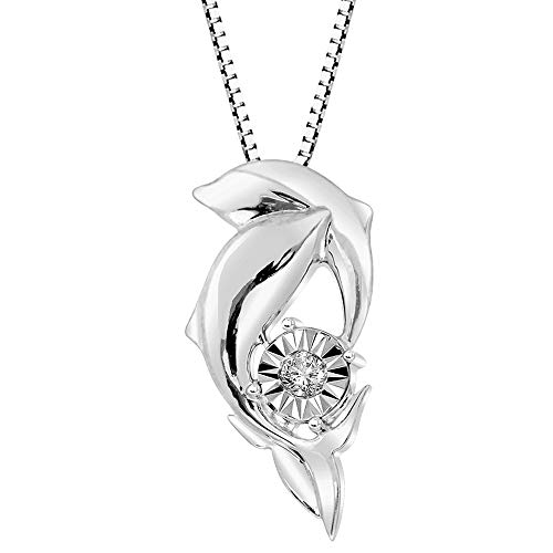 - Diamond Dolphin Necklace in Sterling Silver 1/10 cttw