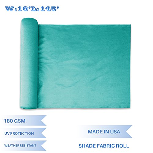 E&K Sunrise 16′ x 145′ Turquoise Green Sun Shade Fabric Sunblock Shade Cloth Roll, 95% UV Resistant Mesh Netting Cover for Outdoor,Backyard,Garden,Greenhouse,Barn,Plant (Customized Sizes Available)