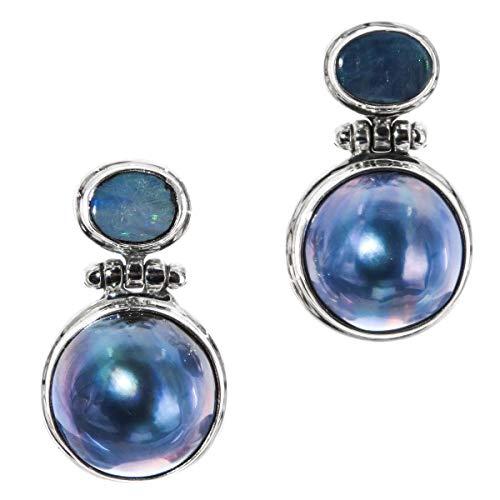 Australian Opal Blue Mabe Cultured Pearl 925 Sterling Silver Post Earrings, 1 1/8