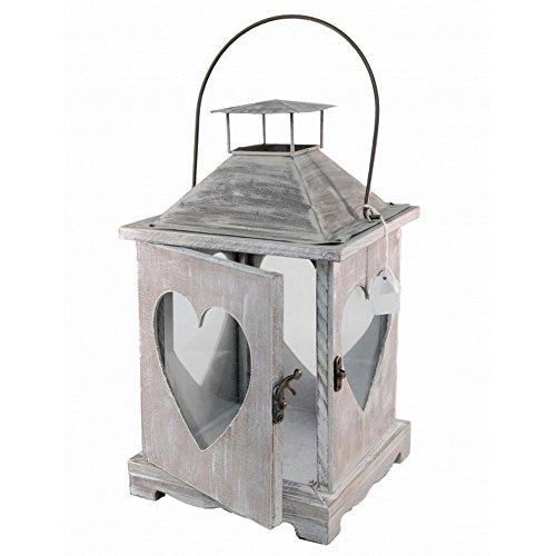 Gainsborough Gifts Limewash Wooden Heart Lantern (13.5 Inch) (Gray Wood) ()