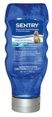 Sentry Flea & Tick Shampoo For Dogs And Puppies 18 Oz 0.10 Permethrin Tropical Scent