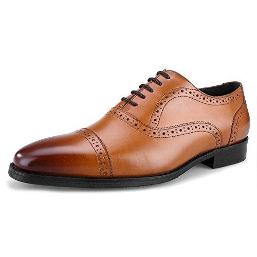 MERRYHE Hommes D'affaires En Cuir Véritable Oxford Chaussures Plaine Toe Brogues Formelles Robe De Soirée De Travail Chaussures Pour Les Cadeaux Du Père Brown xZBwm7