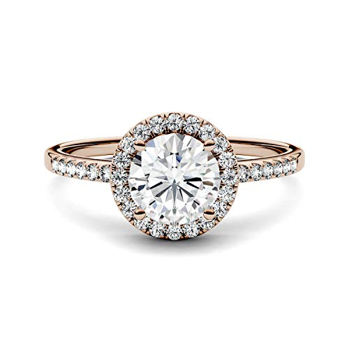 14K Rose Gold Moissanite by Charles & Colvard 6.5mm Round Engagement Ring-size 5, 1.30cttw DEW