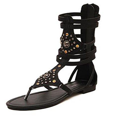 set adil Women's Open Toes Summer Cute New One Band Flexible Flat Ankle Strap Sandals-(black-35/4 B(M) US Women) Patent Peek A-boo Dress