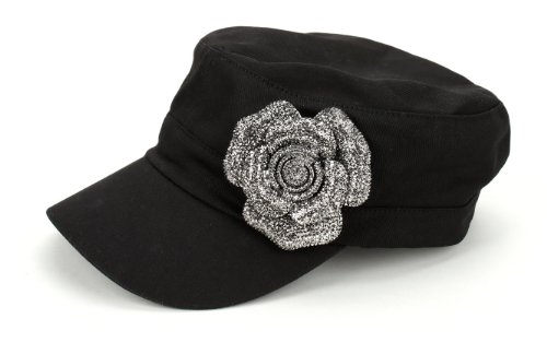 Military Rhinestone Glitter Jewel Crystal Gem Rose Flower Floral Style Cap / Hat