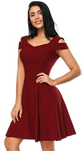 - Party Dress for Women, Off Shoulder Sweetheart Cocktail Vintage Dresses for Women (Burgundy, M)