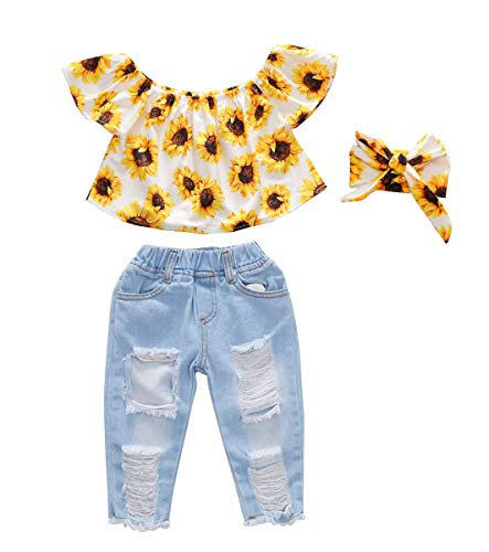 Toddler Girl Baby Sun Flower Off Sloulder Top Ruffle Blouse + Blue Ripped Long Jeans +Headband Summer Clothes Sets (Sun Flower #2, 18-24 -