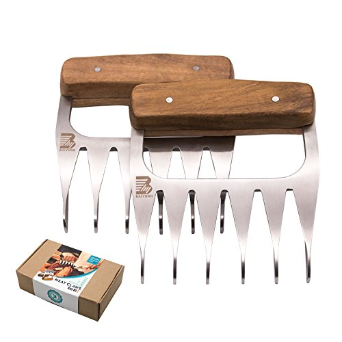 Baiyihui Meat Claws, Food-Grade SUS304 (18/8) Stainless Steel BBQ Bear Forks for Meat Shredding/Handing/Lifting/Serving, Rust Resistant, Non-Stick, Easy to Clean (2 Pcs, BPA Free, FDA Approved) by Baiyihui