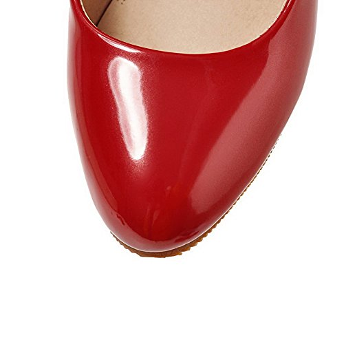 VogueZone009 Women's Patent Leather Soild High-Heels Pumps-Shoes Red DRfQyecbU