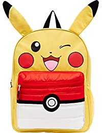 """Pikachu 16"""" Backpack with Puff Pocket, Yellow, Size 16.0"""