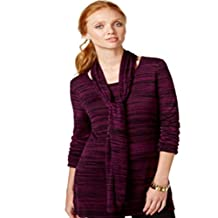 Cable & Gauge Marled Sweater & Scarf Dark Purple Small