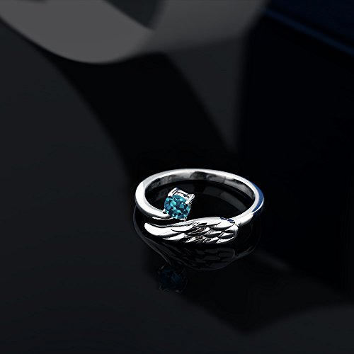 Gem Stone King London Blue Topaz 925 Sterling Silver Women s Wing Ring 0.30 Cttw Round Cut Available 5,6,7,8,9