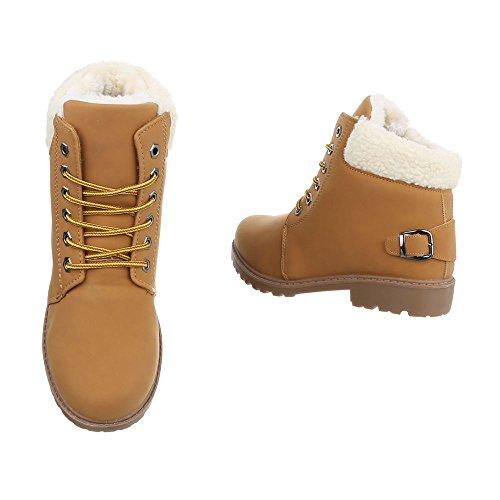 Ital-Design Schnürstiefeletten Damenschuhe Combat Boots Blockabsatz Warm Gefütterte Schnürsenkel Stiefeletten Camel CFC-02