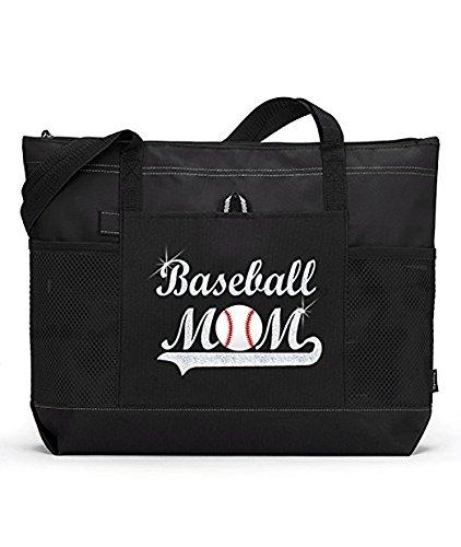 グリッターベースボールママトートバッグ 大型ブラックトートバッグに白く輝く野球ボール付きシルバーグリッター B01N8QWGCH