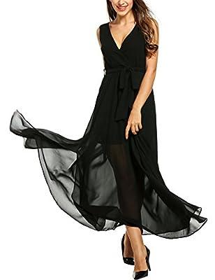 Meaneor Chiffon Maxi Wrap Dress Women Vintage V Neck Tie-Waist Split Long Dress
