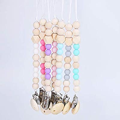 Anniston Baby Accessories, Lovely Wooden Beads Chain Infant Baby Soother Toy Teether Pacifier Clip Holder Perfect Fun time Play Activity for Infants & Toddlers, Blue : Baby