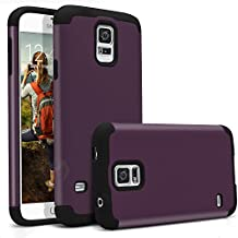 Galaxy S5 Case, MagicMobile® Hybrid Ultra Protective Thin Armor Defender Case For Samsung Galaxy S5 Shockproof Rubber Rugged Skin Hard Dual Cover High Impact Case for Galaxy S5 (2014) [Purple / Black]