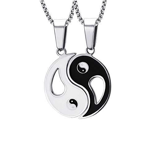VNOX Chinese Philosophy Taoist Symbol Yin-Yang Taichi Yoga Stainless Steel Rhinestone Pendant Necklace (Couple Set-B)