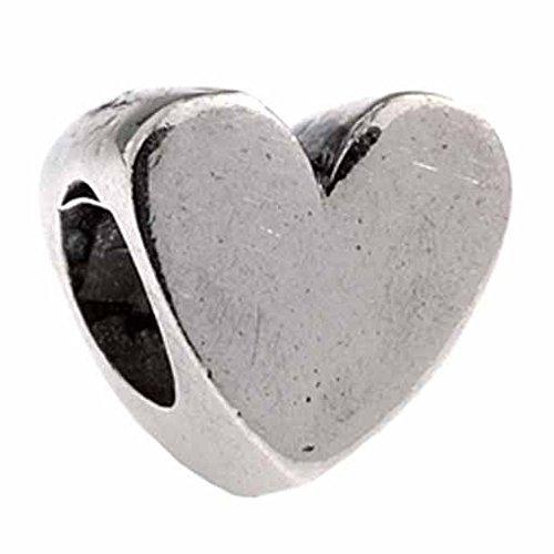 Silverado Sterling Silver Polished Heart Bead Charm MS016 (Silverado Charm Bead)