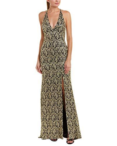 Nicole Miller Womens Silk Gown, 2 Black/Gold ()