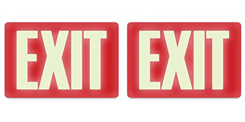 Headline Sign 4792 Glow-in-the-Dark Exit Sign, 8 Inches by 12 Inches, 2 Packs