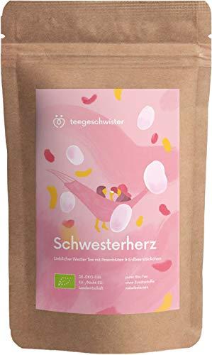 BIO Schwester-Herz | Weißer Tee mit Erdbeerstückchen und Rosenblüten | Geschenk-Idee für deine Schwester oder beste Freundin | teegeschwister