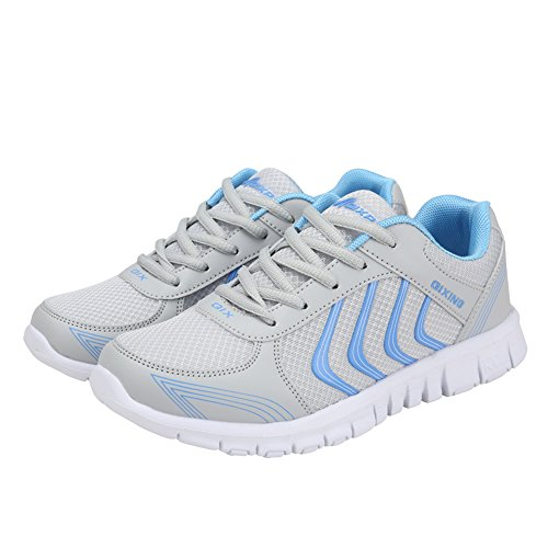 Ponyka Women's Lightweight Athletic Walking Sneakers Breathable Tennis Road Running Shoes US4.5-10.5 Gray