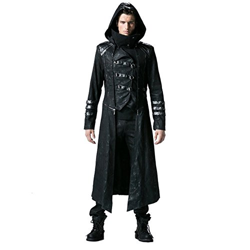 Peony ghost Steampunk Men Trench Coats Black Strentch Coats with Leather Gothic Hooded Detachable Long Coats (XL)