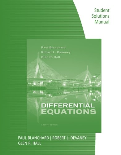 Books : Student Solutions Manual for Blanchard/Devaney/Hall's Differential Equations, 4th
