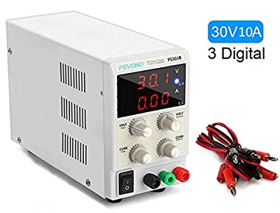 DC Bench Power Supply, Pevono PS3010 30V/10A 3 Digital LED Desktop Switching Variable Power Supply Power Source for Lab Repair,Electronic Tester, Power Calculator