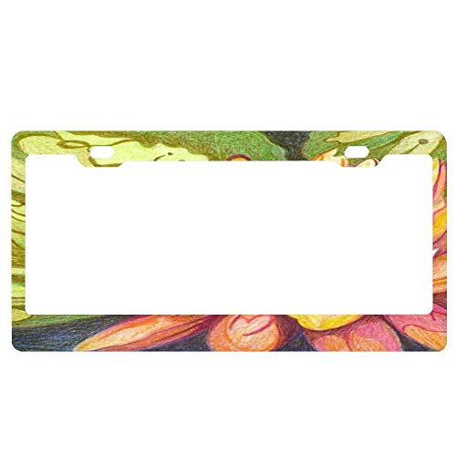 (YUMHlicenseplateframeLL Pink Orange Salmon & Greens Decorative Waterlily Design License Plate Frame Aluminum Protector Car Tag Frame)