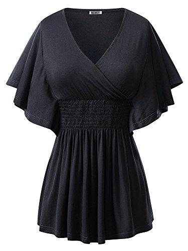 HuHot Women's V-neck Slimming Batwing Sleeve Smocked Empire Waist Tunic Top Blouse X-Large Black