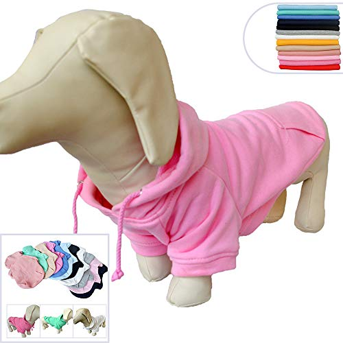 thing Dachshund Dog Clothes Coat Hoodies Winter Autumn Sweatshirt for Dachshund Dogs 10 Colors 100% Cotton 2018 New (D-L, Pink) ()