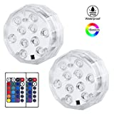 KINGWILL LED Submersible Lights, 16 Colors Changing Underwater Lights, Battery Powered Pond Lights with IR Remote Controller, Waterproof Light for Hot Tub, Fountain, Pond, Fish Tank, Aquarium, 2 Packs