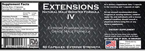Extensions IV™ Testosterone Enlargement Booster Increases Energy, Mood & Endurance - All Natural Performance Supplement for Men by PherLuv LLC (Image #4)