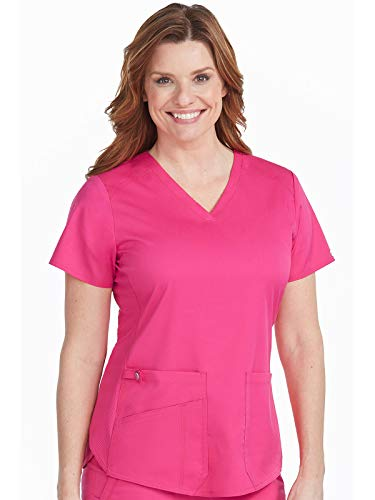Med Couture Touch Women's V-Neck Shirttail Scrub Top Pink Punch XL