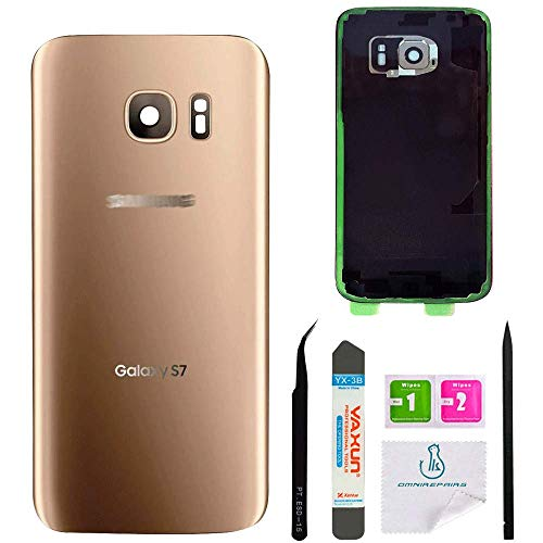 (OmniRepairs Rear Back Battery Door Cover Replacement Compatible for Samsung Galaxy S7 G930 with Adhesive and Repair Toolkit (S7 Gold))