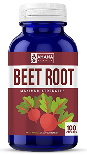 Ahana Nutrition Pure Beet Root Powder Capsules – Natural Heart Health and Blood Pressure Supplement (605mg – 100 Capsules)