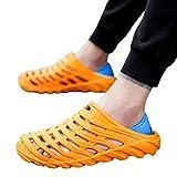 2019 New Men's Plus Size Waterproof Beach Sandals Elastic Heel Leisure Hollowed Outdoor Casual Beach Shoes7.5-10M (Orange, 7.5 M US)