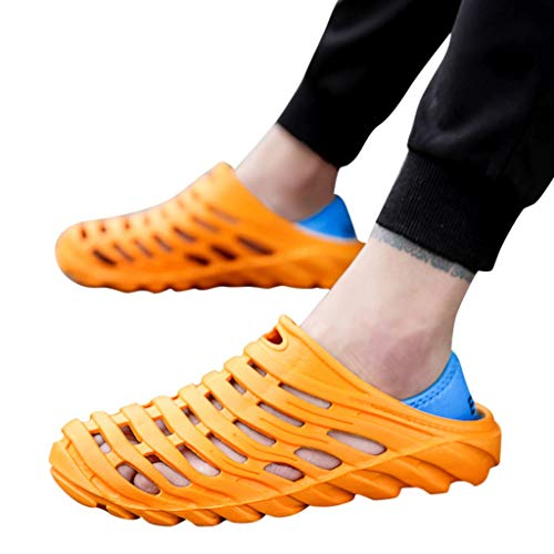 (Men's Slippers Waterproof Beach Sandals Elastic Heel Leisure Hollow Outdoor Casual Shoes (US:9, Orange))