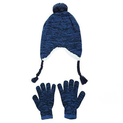 Nolan Navy Blue Peruvian Boys Winter Hat with Ear Flaps and Glove Set Youth 4-16 by Nolan Originals